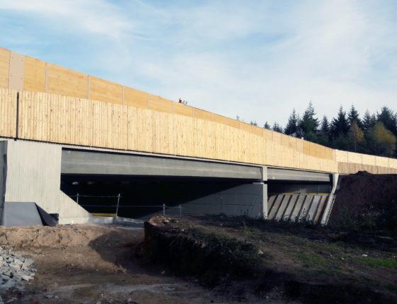 longueur : 53m largeur : 25m. Specificites : poutres precontraintes en T' avec une longueur constante de 2507m et des largeurs variables. Ecopont de la Pologne a Vitrac-sur-Montane sur la A89 sur la section Bordeaux / Clermont-Ferrand.