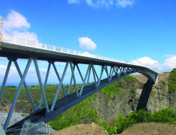 Passerelle sur la Bras de la Plaine a la Reunion